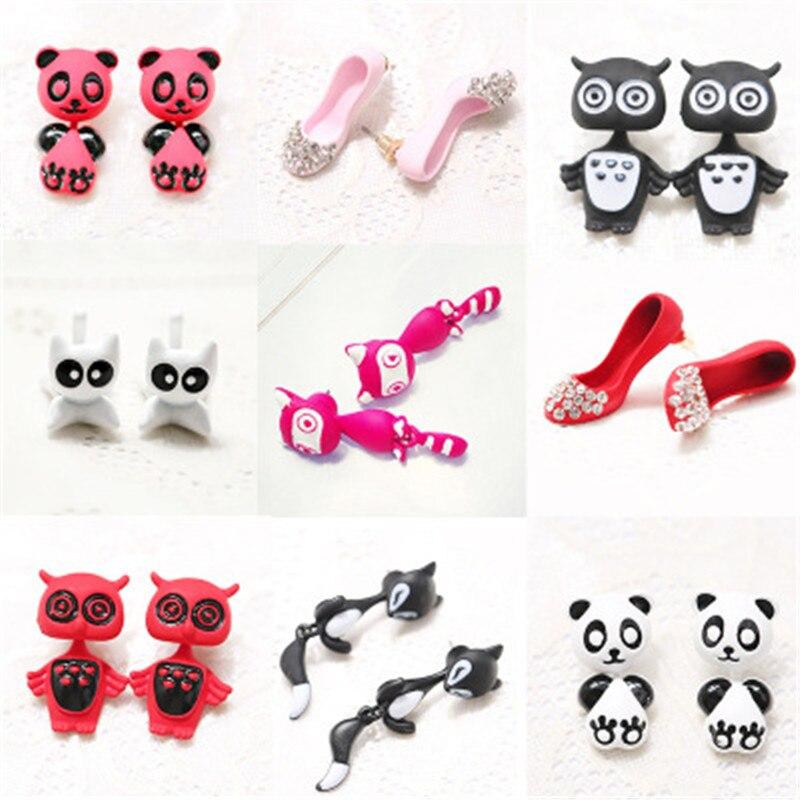 Korean Cute Cartoon Panda Fox Owl Elepant Bear Dog Frog Raccoon Woman Girl Stud Earrings Fashion Jewelry Holiday-KQQE