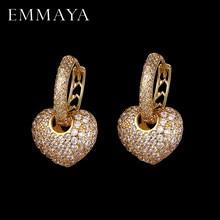 EMMAYA lujoso en forma de corazón pendientes de pavimentar con AAA Cubic Zirconia pendiente de la boda de pendientes, joyas de mujer Brincos