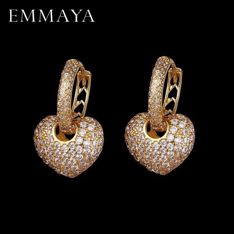 EMMAYA luxe coeur forme boucles d'oreilles pavé avec AAA cubique zircone mariage boucles d'oreilles pour femmes bijoux Brincos