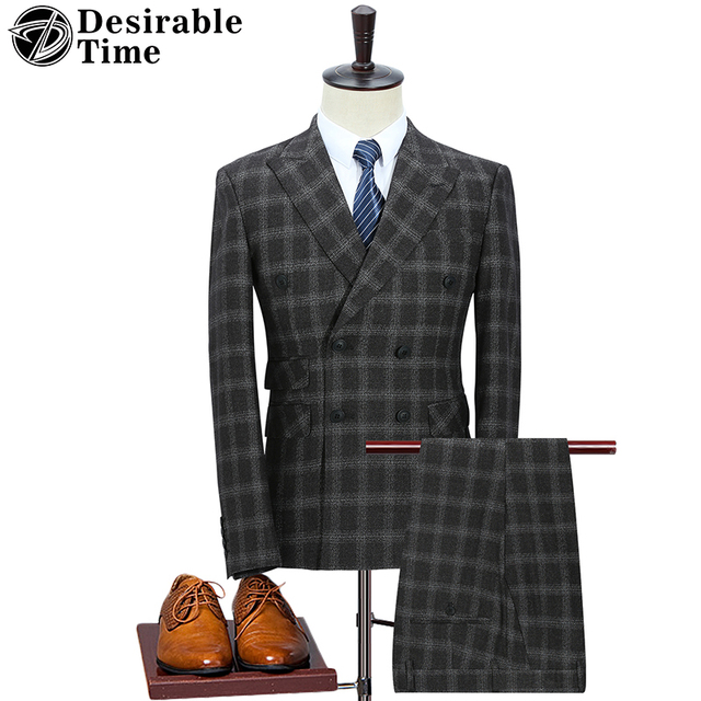 Aliexpress.com : Buy Mens Double Breasted Plaid Suit Jacket with ...