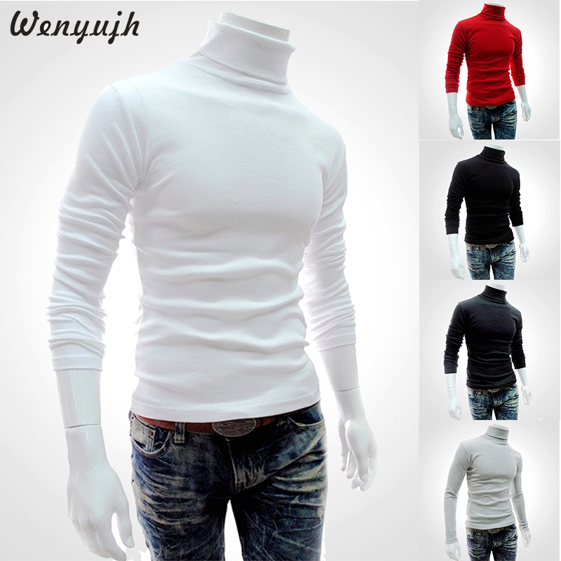Wenyujh 2019 Autumn Winter Men's Sweater Males Turtleneck Solid Color Casual Sweater Homme Slim Fit Knitted Cotton Pullovers