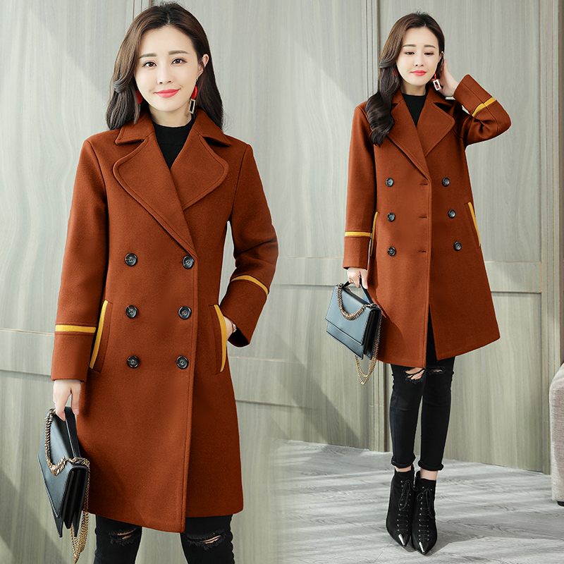 Winter Woman Coat 2019 Fashion Korean Style Long Sleeve Patchwork Slim Fit Plus Size Outwear Wine Red Casaco Feminino Warm Coats in Wool amp Blends from Women 39 s Clothing
