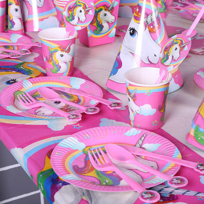 Unicorn Party Supplies สาว Borthday Party อุปกรณ์เสริม Favors Party ตกแต่งของขวัญเด็กยูนิคอร์น Acesorios Aniversario