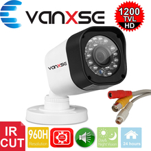 Vanxse CCTV 1/3 CMOS 1000TVL 24LEDs IR-CUT D/N Indoor Bullet Audio Security Camera Microphone Surveillance Camera