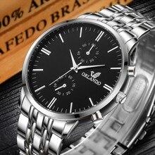 Mens Watches Top Brand Luxury Orlando Clock Stainless Steel Men Business Watch Male Gentlemen Casual Fashion Wristwatch