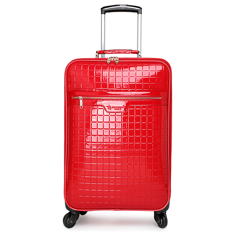 Red luggage married the box bride box suitcase female travel trolley luggage bag,16 20 24fashion red pu leather married luggage luggage