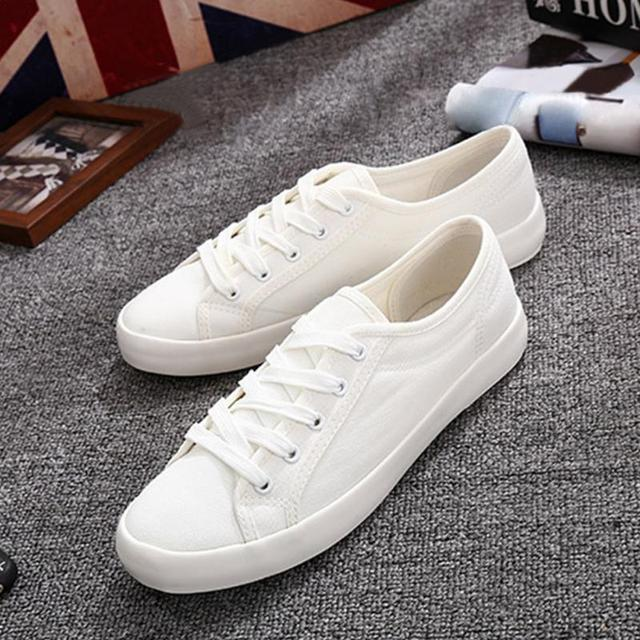 5f80fec678 2017 Spring New canvas Shoes Woman Fashion Lace Up White Shoes Woman Flats  For Lady