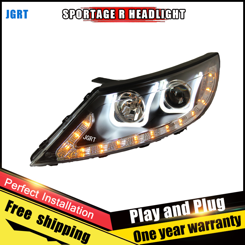 Car Style LED headlights for Kia SportageR 2011-2013 for SportageR head lamp LED DRL Lens Double Beam H7 HID Xenon bi xenon lens for volkswagen polo mk5 vento cross polo led head lamp headlights 2010 2014 year r8 style sn