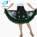 New 2016 Women Swing Latin Dance Skirt Knee Length Square Ballroom Dance Skirts Flower Sequin Practice Performances Dancewear