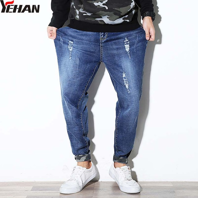 ba2308eb8f2 Fashion Men Baggy Ripped Jeans Denim Loose Hip Hop Harem Jeans Men Plus Size  Casual Harem Pants Men jean homme Camouflage Leg