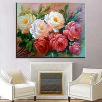 Blumen DIY Malerei Durch Zahlen Digitale Kits Färbung Rosa Öl Bilder Handgemalte Abstrakte Auf Leinwand Home Decor Wand Kunst Handwerk