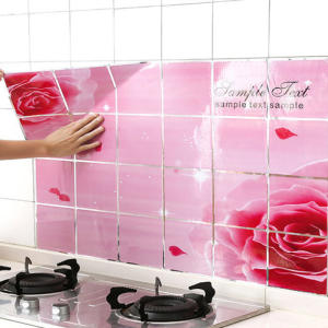 Tile Stickers Paper Gas-Stove Oil-Proof Self-Adhesive Kitchen High-Temperature Wall 1PC