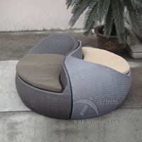2pcs Grey Fashion Comfortable Outdoor Rattan Daybed For Beach / Pool to sea port by sea