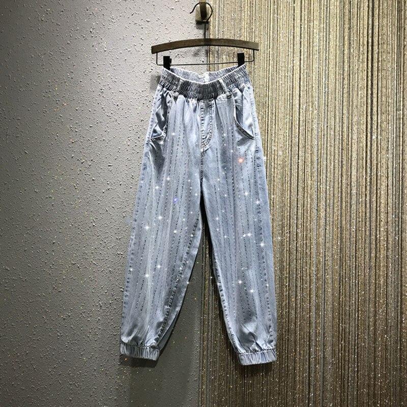 Brillant diamant femmes jeans perles taille haute bleu lâche cheville longueur denim jeans décontracté street wear femme jeans top qualité