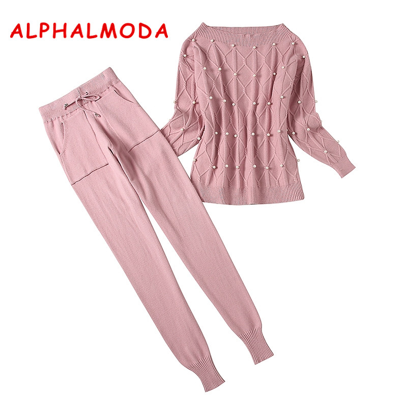 ALPHALMODA 2018 Winter Women New Beaded Sweater + Trousers 2pcs Casual Suits Pullovers Loose Jumpers Pants Conjunto Feminino