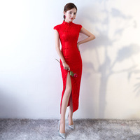 Sexy Chinese Dress Qipao Woman Long Bride Wedding Red Cheongsam Lace Robe Oriental Style Dresses Traditional Evening Gown