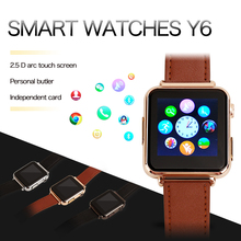 2016 New Y6 Smart HD Touch Screen Watch Push Messages for Android With SIM Card Calling MTK6260A 2.5D Radian 1.54 Inch
