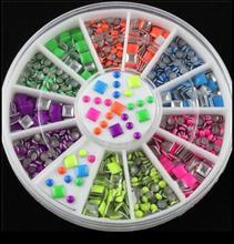 1 Box 2 Styles 6 Color Neon Stud UV Gel DIY Metallic Rivets Plating Bright 3D Nail Art Decoration Studs Charms Sticker in Wheel