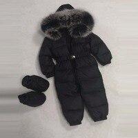 Зимняя одежда для малышей для маленьких девочек вниз комбинезон пуховик для мальчиков куртки с капюшоном лисий мех обувь пояса большой мех