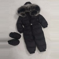 Baby Winter Clothes Baby Girl Down Rompers Boy Down Jackets Hooded Fox Fur Footwear Belt Large Fur Winter Coat 1 4Y