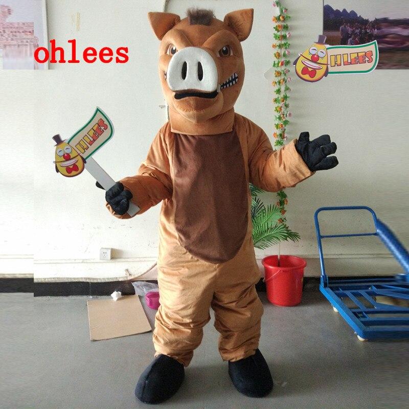 Ohlees réel image réelle conception d'usine sur mesure sanglier féroce razorback porc dessin animé mascotte Costume adulte costumes