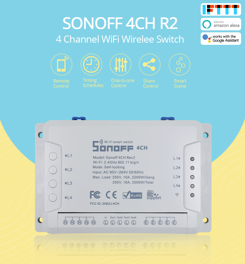 SONOFF 4CH R2 4 Gang/Channel Wireless Switch Light Wifi Remote Control 4 Devices 10A/2200W Smart Home Automation Alexa/Google