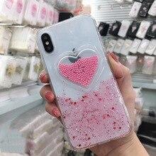 Cute Cartoon Glitter Powder Love Phone Case For iPhone 7 8 Plus X XS MAX XR 6 6s Soft Dynamic Beads 3D Smile Face Cloud Cover