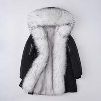 2018 New Winter Women Long Coat White Duck Down Jacket Real Fox OutWear Natural Raccoon Fur Collar Parka Fashion Down Coat