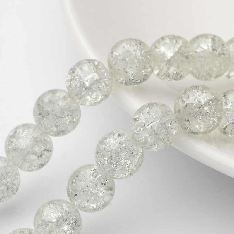 4 6 8 10 12mm przezroczyste szkło z krakelurą kryształowe luźne koraliki Ball okrągły koralik na naszyjnik bransoletka kolczyki DIY biżuteria, dzięki czemu