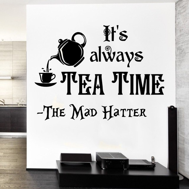 Mad Hatter Sayings Kichen Decorative Wall Sticker Vinyl Qutotes Its ...