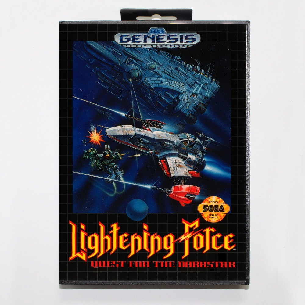 New 16 bit MD game card - lightening force with Retail box For Sega genesis system