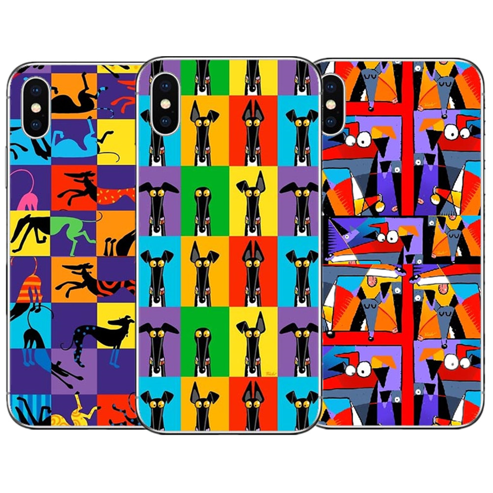 Cartoon Greyhound Semaphore Phone Case For iPhone X 10 Dog Hard PC Phone Cover For iPhone 5 5S SE 6 6S Plus 7 7Plus 8 8 Plus
