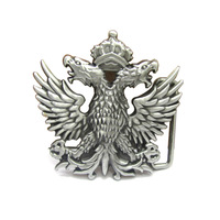 Russia Turkey Emblem Retro Metal Carving Crown Double Eagle Belt Buckle Super Cool Male Logo