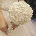 White pearl свадебный букет пользовательские кристалл люкс свадебный букет ручка творог игристое Невесты Сферической букет