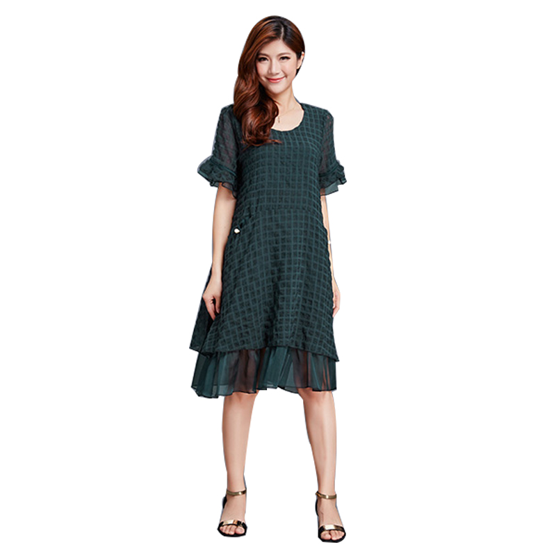 plus size women clothing 2018 summer 5XL 6XL Loose women Dress big sizes Casual short Sleeve Dress office lady solid lace dress