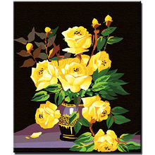 WEEN Blooming Yellow Rose-DIY Oil Painting By Numbers,Framed Wall Picture,Oil Canvas Paint By Numbers Home Decor Picture 40x50cm(China)