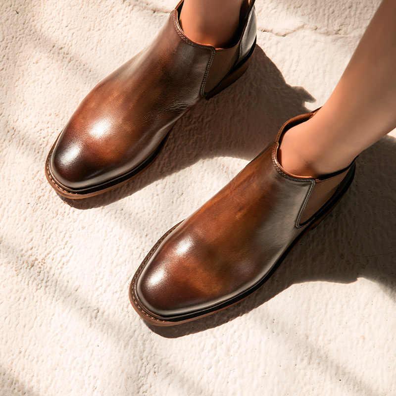 BeauToday Chelsea Çizmeler Kadın Cilalı Inek Deri Yuvarlak Ayak Hakiki Deri Elastik Bant Bayan Ayak Bileği Ayakkabı el yapımı 03276