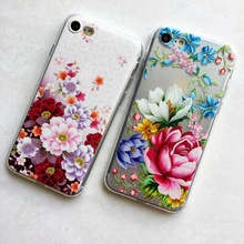 Фотография  Flexible TPU Case For iphone 7 7plus 6 6s 6plus Slim Flower Plants Pattern Silicone Phone clear cover capa case