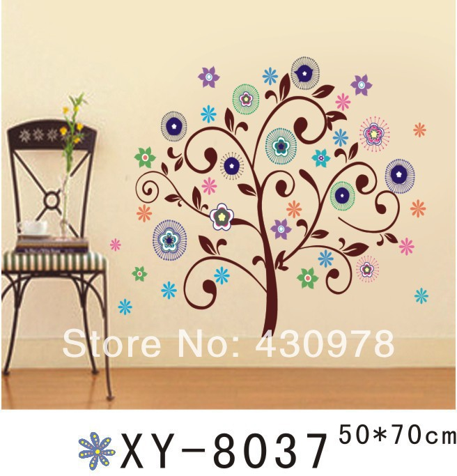 New Arrive QZ689 Free Shipping 1Pcs Abstract Art <font><b>Bohemian</b></font> Gorgeous Flower Tree Removable PVC Wall Stickers <font><b>Home</b></font> <font><b>Decoration</b></font>
