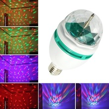 HOT selling!!Mini E27 3W Full Color Stage Effect DJ Lamp Disco Light RGB Crystal uto Rotating LED moving head Bulb