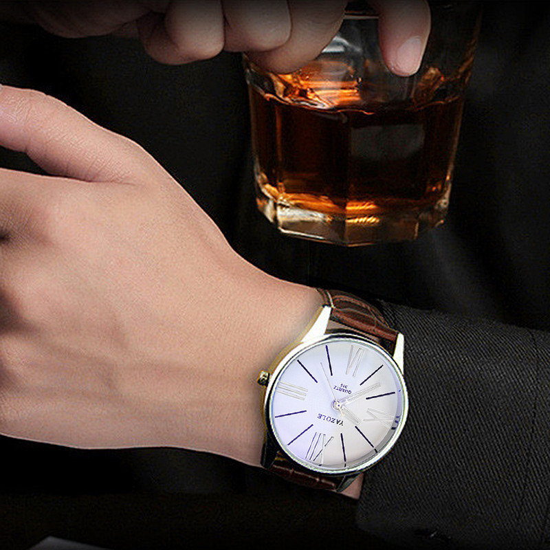 New Sport Luxury Fashion Leather Mens Gentleman Glass Classics Stylish Quartz Analog Wrist watch Gifts relogio masculino F80