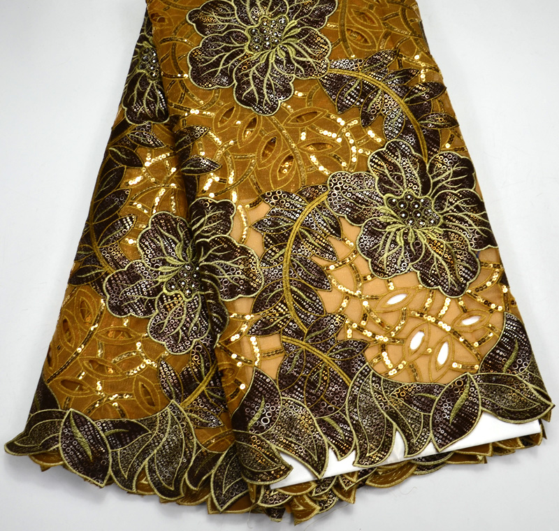 Latest High Quality Nigeria design Oil Brown Handcut Double Organze African Net lace with sequins Wedding lace fabric 5 yards