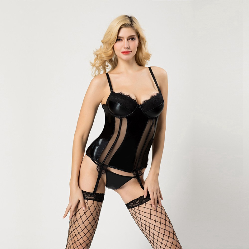 Sexy Women Latex Mesh Corset and Bustier with Straps Belt Breathable Fabric High Elasticity Lingerie Push Up Corset