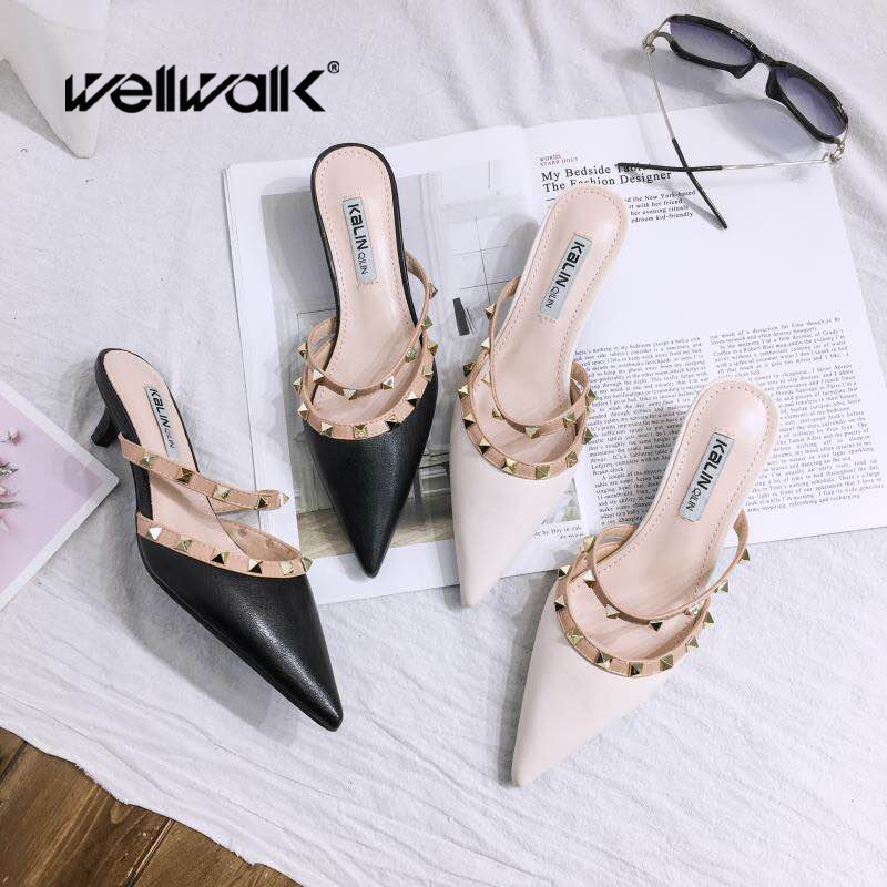Heel Slippers Sexy Shoes Women Mules Pointed Toe Shoes Rivets Strap Heel Slides Ladies Sandals Female Dress Shoes BrandHeel Slippers Sexy Shoes Women Mules Pointed Toe Shoes Rivets Strap Heel Slides Ladies Sandals Female Dress Shoes Brand