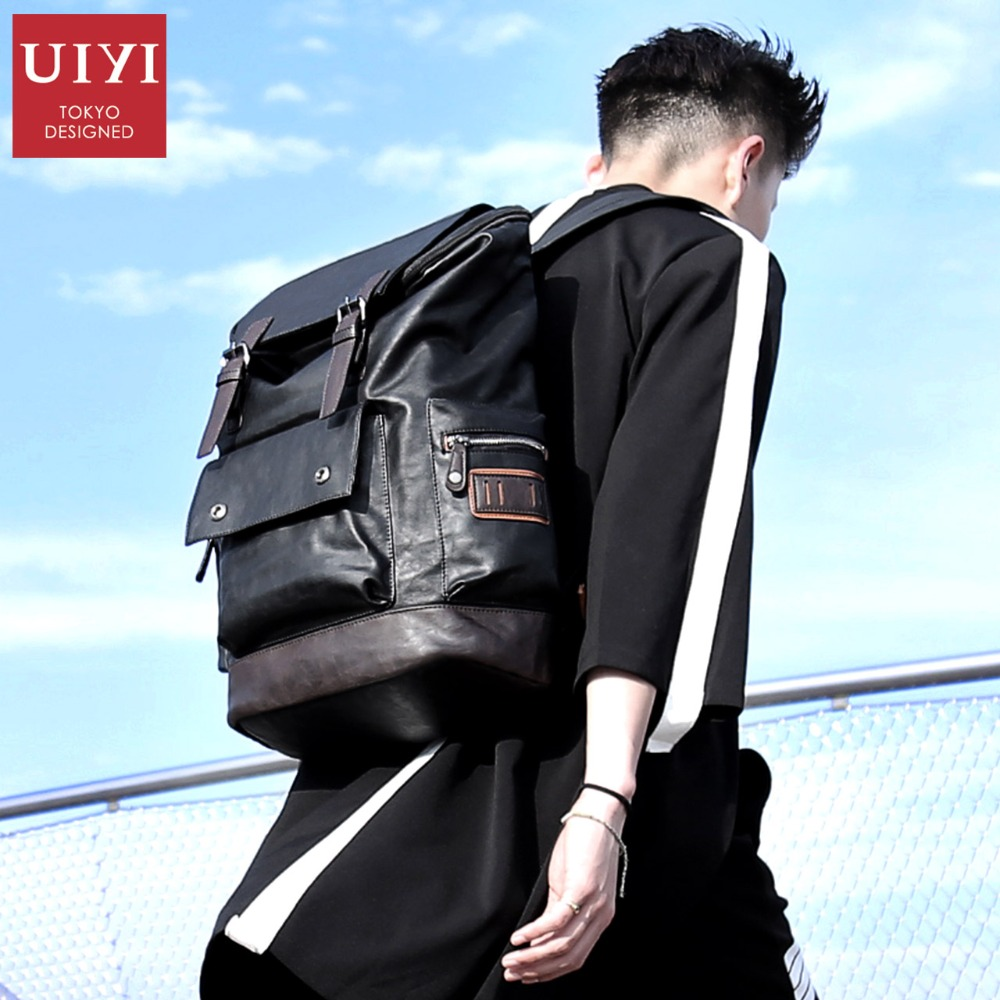 UIYI New items Backpacks For Men PU Backpack Bags Men Travel Backpack 14' Laptop Top Quality Male School Back bags For Teenager glikong 2017 fashion new brand laptop backpack for men and women school bags for teenager tops handle bags nylon travel backpack