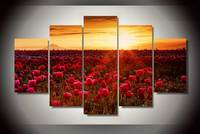5 Panel Modern HD Printed Sunset Tulip Canvas Paintings On Canvas Wall Art Modular Pictures Home