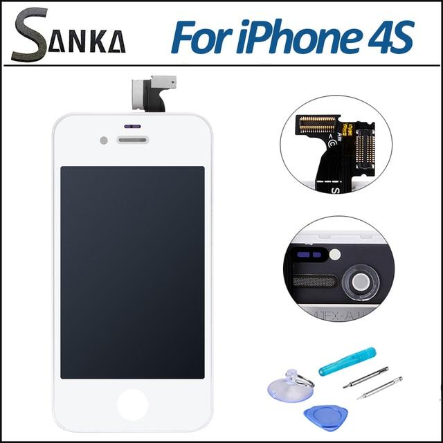 Для iPhone 4S Белый ЖК Замена Сенсорного Экрана Объектив Дисплей Планшета Ассамблея Полный Комплект & Бесплатные Инструменты,