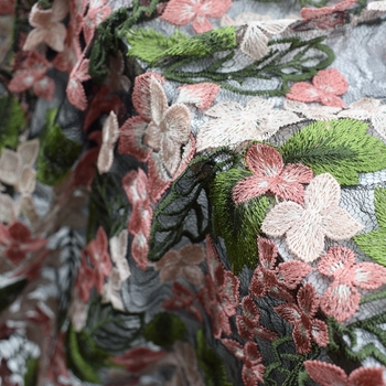 Модные 3D розовый маленький цветок зеленый лист вышивка жаккардовые ткани Африканский кружевной для платья tissu telas tissus tecidos