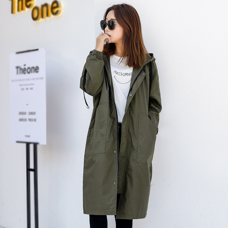 2019 New Spring Long   Trench   Coats Women Loose Large Size Autumn casual Hooded Korean Windbreaker Women's Overcoat V742