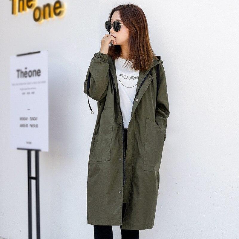 2020 New Spring Autumn Long Trench Coats Women Loose Large Size Casual Hooded Korean Windbreaker Women's Overcoat V742